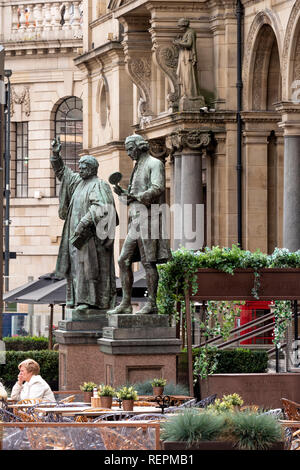 Statue of Joseph Priestly and Dr Walter Hook Statue at City Square Leeds Yorkshire England - Stock Image