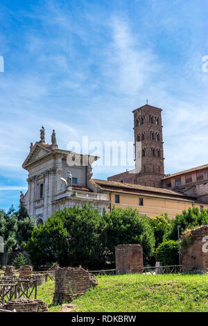 Rome, Italy - 24 June 2018:The ancient ruins of Santa Francesca Romana at Palatine Hills, Roman Forum in Rome - Stock Image