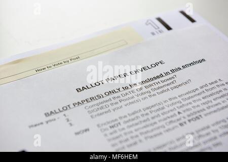 London Borough of Haringey ballot paper envelop for postal voting registered voters. - Stock Image