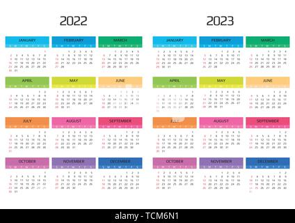 Calendar 2022 and 2023 template. 12 Months. include holiday event. Week Starts Sunday - Stock Image