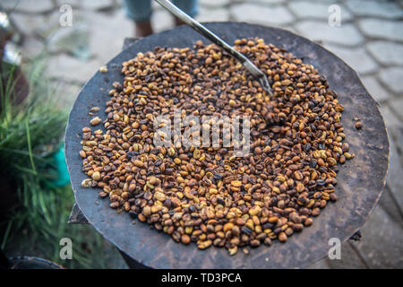 Coffee beans roasting, Addis Ababa, Ethiopia - Stock Image