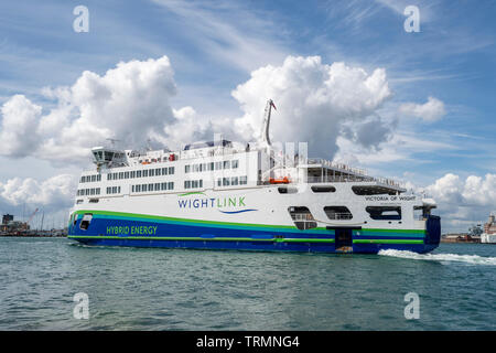 WightLink Isle of Wight ferry which runs on hybrid energy. - Stock Image