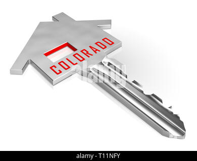 Colorado Real Estate Key Represents Buying Property In Denver United States. Ownership Renting Or Investment Purchase - 3d Illustration - Stock Image