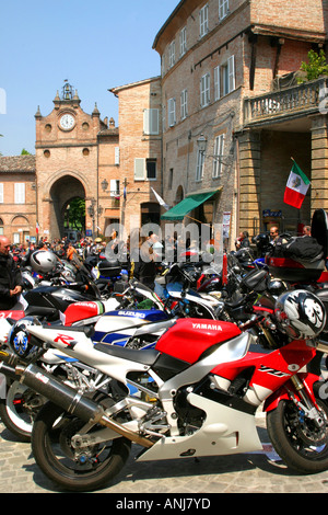 annual motorbike rally in the charming small hilltop town of Amandola in Le Marche Italy - Stock Image