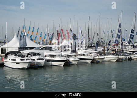 Southampton, UK. 11th September 2015. Southampton Boat Show 2015. The marina area of the show houses small ribs - Stock Image