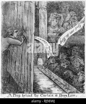 'A Peep behind the curtain at Drury Lane' Showing a caricature associated with Sheridan. - Stock Image