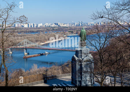 Monument to St. Vladimir the Baptist of Rus. View of Kiev and the Dnieper - Stock Image
