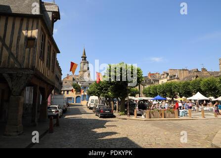 View of Maison de Auguste Pavie and Place Saint Saveur, Dinan, Cotes d'armor, Brittany, France - Stock Image