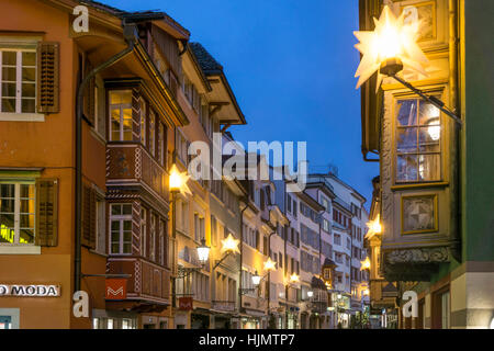 Augustinergasse, christmas illumination, Zurich, Switzerland - Stock Image