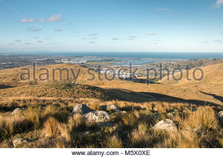 View to Christchurch from Port Hills, Christchurch, New Zealand - Stock Image