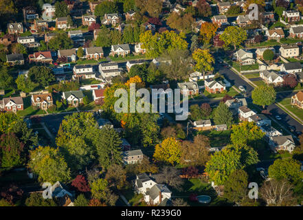 Aerial View Of Houses In Pennsylvania, USA Town - Stock Image