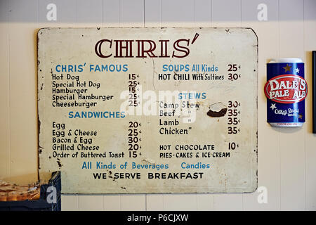 Vintage or antique lunch and breakfast menu sign or board on the wall of Chris' a Montgomery Alabama, USA, restaurant landmark. - Stock Image
