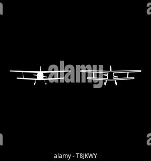 Airplane view with front Light aircraft civil Flying machine icon outline set white color vector illustration flat style simple image - Stock Image