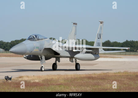 493rd Fighter Squadron F-15C taxiing in after a sortie with the Royal Air Force during a combined exercise at RAF Coningsby. - Stock Image