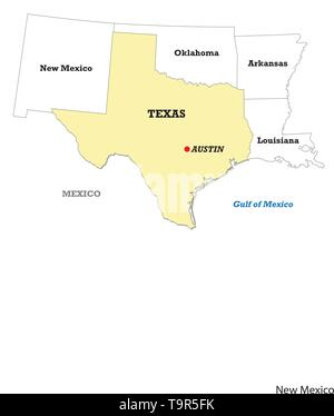 Texas state map with neighboring states - Stock Image