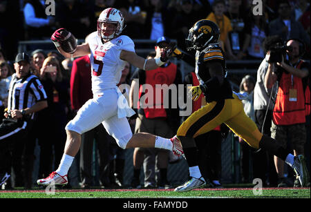 Pasadena, CA. 01st Jan, 2016. Stanford Cardinal running back Christian McCaffrey #5 of Stanford runs for a TD during - Stock Image