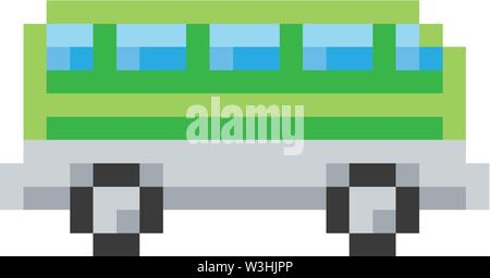 Bus Coach Pixel 8 Bit Video Game Art Icon - Stock Image