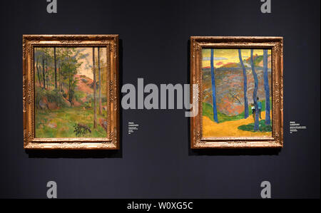 Prague, Czech Republic. 28th June, 2019. The National Gallery Prague (NGP) will open a large exhibition French Impressionism: Masterpieces from the Ordrupgaard Collection with 60 works on June 29, 2019 in the Kinsky Palace, in Prague, Czech Republic. On the photo are seen paintings by Paul Gauguin at the exhibition, on June 28. Credit: Michal Krumphanzl/CTK Photo/Alamy Live News - Stock Image