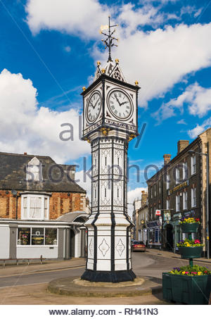 Clock tower in the town of Downham Market, Norfolk, England, UK - Stock Image