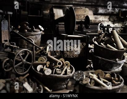 Milling equipment and spindles at Masson Mill, Matlock, Derbyshire, England,UK - Stock Image