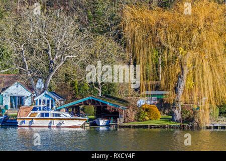 Boathouses On The River,  Henley On Thames, Oxfordshire, UK - Stock Image