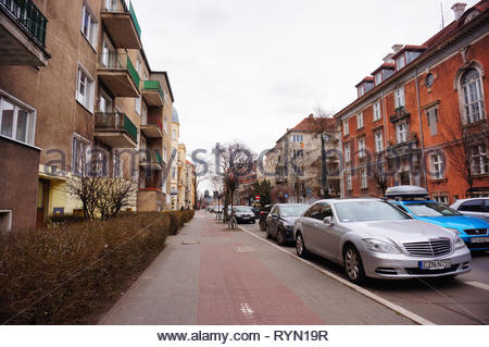 Poznan, Poland - March 8, 2019: Parked Mercedes Benz car by a sidewalk on the Slowackiego street. - Stock Image