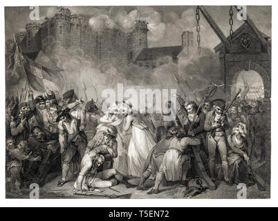 William Nutter, The Storming of the Bastille on 14 July 1789, 1792, etching, French revolution engraving - Stock Image