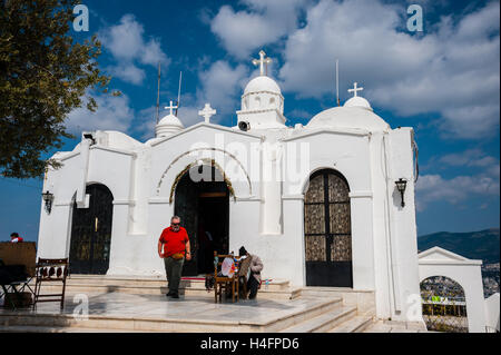 Athens, Greece. Mount Lycabettus is the highest point in the city. Saint George's Chapel. - Stock Image