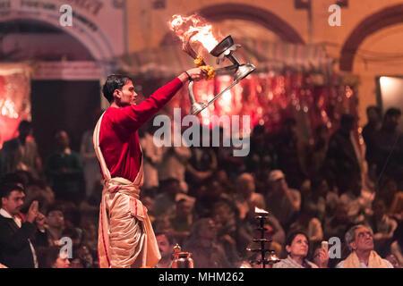 Ganga Aarthi, Varanasi, India - Stock Image