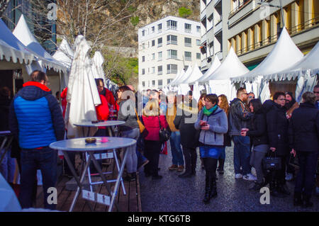 People out for the Marche de Noel Sion where they are Chistmas shopping. - Stock Image