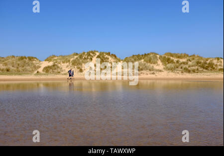 sand dunes on beach at wells-next-the-sea, north norfolk, england - Stock Image