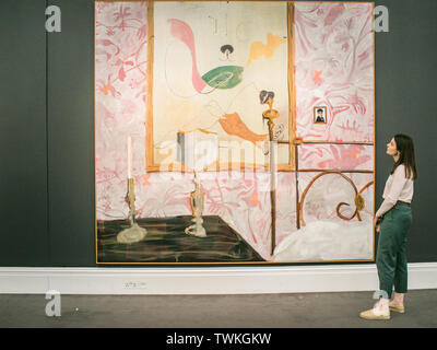 London, UK. 21st June, 2019. A Sotheby's assistant with 'Shlafzimmer (Bedroom)', 2004. Estimate: £800,000-1,200,000 at the Sotheby's Contemporary Art Auction preview for the Evening sale on 26 June Credit: amer ghazzal/Alamy Live News - Stock Image