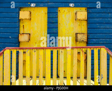 Doors of beach huts at St. James Beach near Capetown, South Africa. - Stock Image