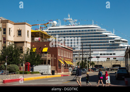 Carnival Magic cruise ship docked on a sunny day at Galveston Texas USA - Stock Image