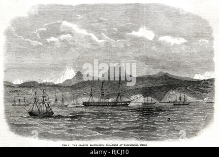 A Spanish squadron blockading the port at Valparaiso, Chile. Several Spanish ships sit broadside to the shore, incapacitating Chilean ships and port industry. This was in response to Chile's refusal to restock Spanish ships with coal during its seizure of Chincha Islands from Peru in 1864. Eventually Peru would form an alliance with Chile, Ecuador, and Bolivia against the Spanish. - Stock Image