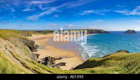 Holywell Bay from the South West Coast Path, Cornwall, UK - Stock Image