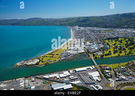 Hutt River, Petone, and Seaview, Wellington, North Island, New Zealand - aerial - Stock Image
