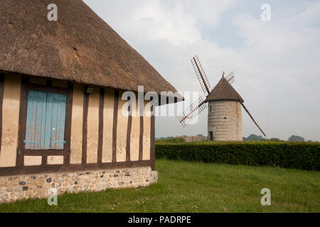 La Moulin de Pierre, a restored windmill with sails, Hauville, Eure, Haute-Normandie, Normandy, France - Stock Image