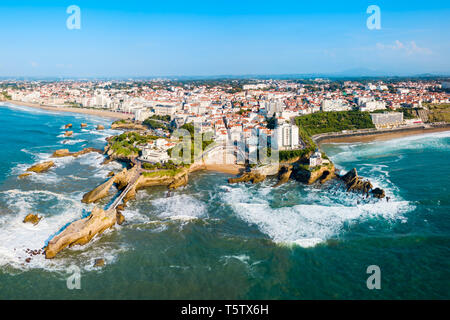 Biarritz aerial panoramic view. Biarritz is a city on the Bay of Biscay on the Atlantic coast in France. - Stock Image