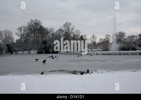 Victoria Park, east London in winter - Stock Image