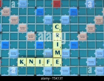 Knife Crime written in Scrabble tiles - Stock Image