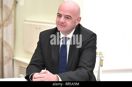 FIFA President Gianni Infantino during a meeting with Russian President Vladimir Putin at the Kremlin February 20, 2019 in Moscow, Russia. - Stock Image