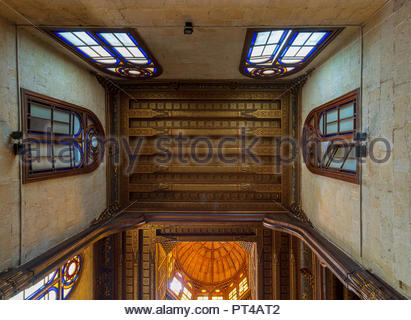 Decorated ceiling with floral pattern decorations and stained glass windows at Sultan al Ghuri Mausoleum, Cairo, Egypt - Stock Image
