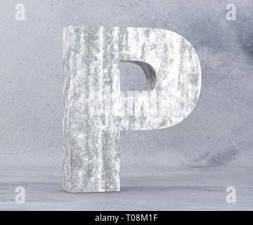 Concrete Capital Letter - P isolated on white background. 3D render Illustration - Stock Image