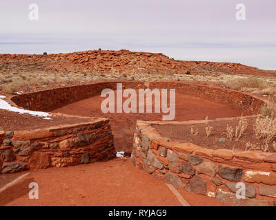Ball Court, showing cultural influence from Mesoamerica far to the south. Wupatki National Monument, Arizona. - Stock Image