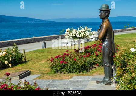 Statue of Charles Chaplin in Vevey - Stock Image