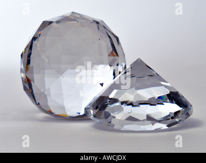 Crystal Glass Faceted Paperweights - Stock Image