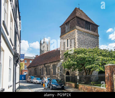 St Alphedge Church,St Alphedge Lane,Canterbury Cathedral,Background,Canterbury,Kent,England.UK - Stock Image