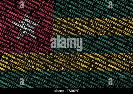 Togo flag  is depicted on the screen with the program code. The concept of modern technology and site development. - Stock Image