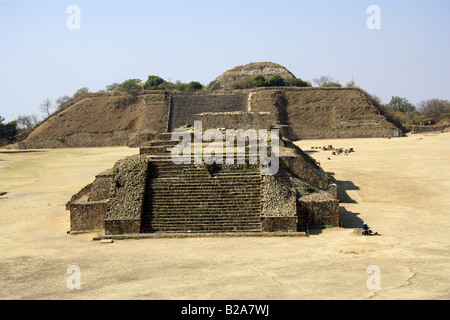 A View of Monte Alban from the North Platform, Buildings G H I and J in the Foreground. South Platform in the Background. - Stock Image